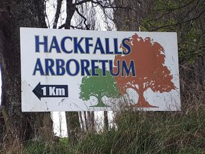 The sign to the Hackfalls arboretum once you are past the pub in Tiniroto.